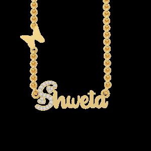 Shweta  Name Personalized Gold Diamond Pendant
