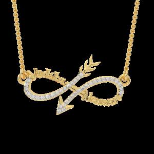 Infinity Arrow Best Couple Name Gold Diamond Pendant