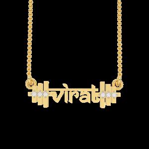 Virat Name Personalized Gold Diamond Pendant
