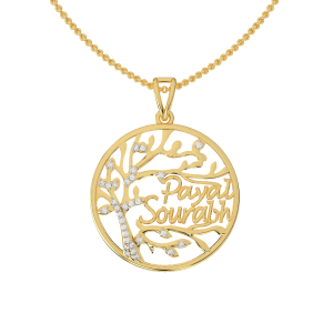 Best Couple Name Gold Diamond Pendant