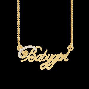 Babygirl Name Gold Diamond Pendant