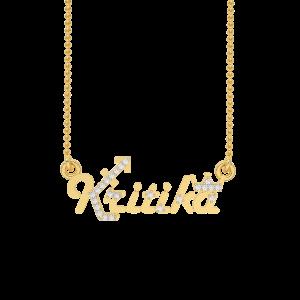 Kritika Name Personalized Gold Diamond Pendant