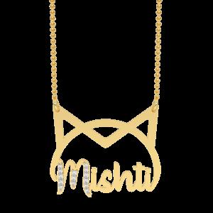 Mishti Name Personalized Gold Diamond Pendant