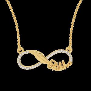 Shikha Name Personalized Gold Diamond Pendant