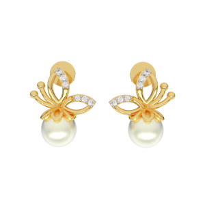 The Wholesome Gold Diamond & Pearl Earring