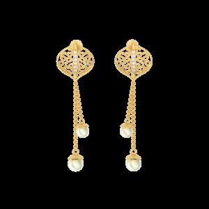 Links N Likes Gold Diamond Danglers Earrings