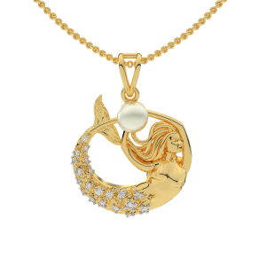 Be A Mermaid Diamond Gold Pendant With Pearl