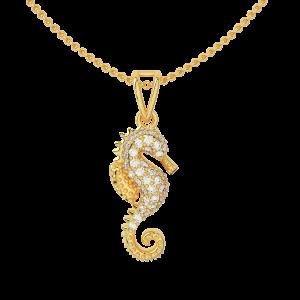 Capture The Sea Horse Gold Diamond Pendant