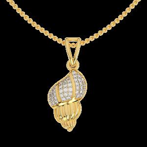 The Sound Of Conch Gold Diamond Pendant