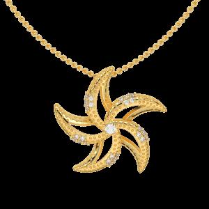 Make Wish Starfish Gold Diamond Pendant