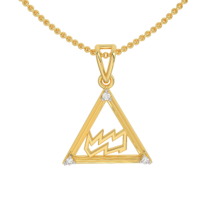 Aquarius Zodiac Sun Sign Gold Diamond Pendant