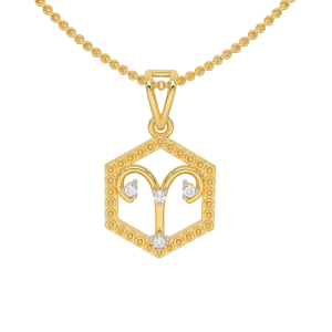 Aries Zodiac Sun Sign Gold Diamond Pendant