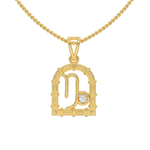 Capricorn Zodiac Sun Sign Gold Diamond Pendant