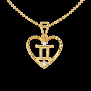 Gemini Zodiac Sun Sign Gold Diamond Pendant