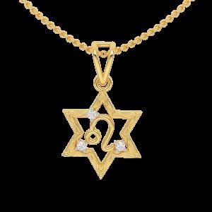 Leo Zodiac Sun Sign Gold Diamond Pendant