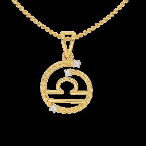 Libra Zodiac Sun Sign Gold Diamond Pendant