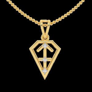 Sagittarius Zodiac Sun Sign Gold Diamond Pendant