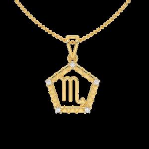 Scorpio Zodiac Sun Sign Gold Diamond Pendant