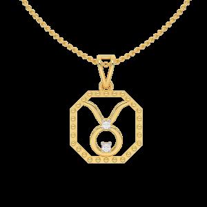 Taurus Zodiac Sun Sign Gold Diamond Pendant