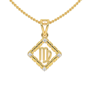 Virgo Zodiac Sun Sign Gold Diamond Pendant