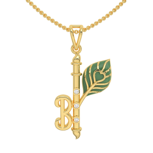The Flute Initial Gold Diamond Pendant