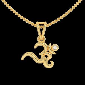Auspicious Om Gold Diamond Kids Pendant
