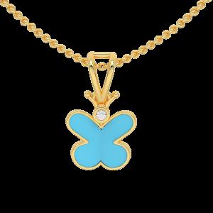 Blu Butterfly Gold Diamond Kids Pendant