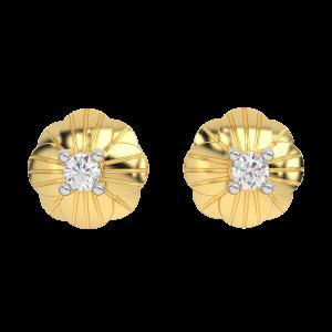 The Clover Over Gold Diamond Kids Earring