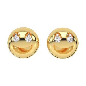 The Smiling Smily Gold Diamond Kids Earring