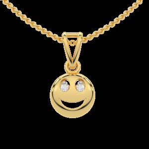 The Smiling Smily Gold Diamond Kids Pendant