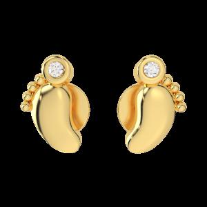 The Baby Feet Gold Diamond Kids Earring
