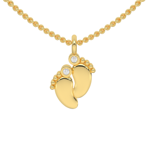 The Baby Feet Gold Diamond Kids Pendant