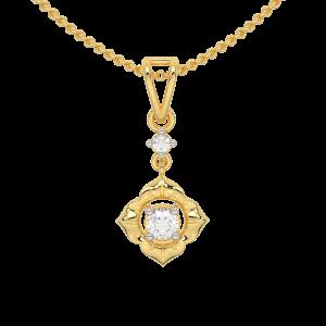Floral Poise Gold Diamond Pendant