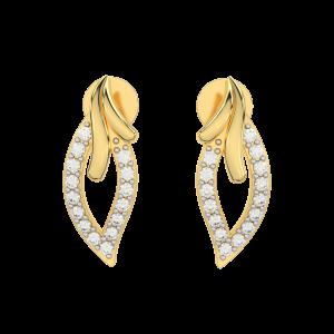 The Leafy Cutout Gold Diamond Earrings