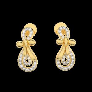 The Swirls Gold Diamond Earrings