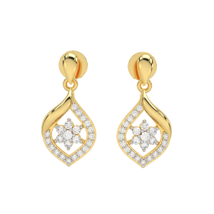 The Floral Sway Gold Diamond Earrings