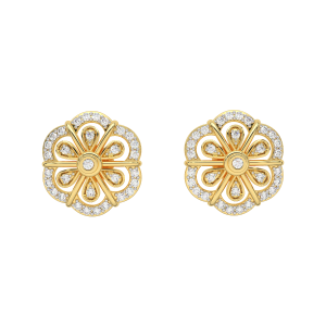 The Floral Gold Diamond Earrings