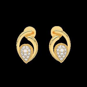 The Glam Drop Gold Diamond Earrings