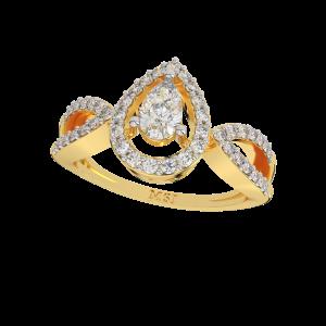 Pear Play Gold Diamond Ring