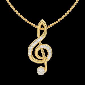 The G clef Music Note Gold Diamond Pendant