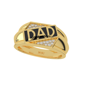 Best Dad Ever Gold Diamond Mens Ring