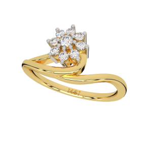 Floral Sway Gold Diamond Ring