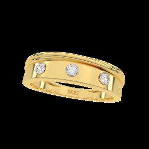The Glitter Band Gold Diamond Men's Ring