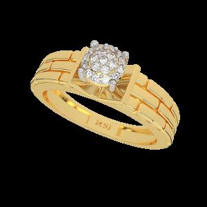 Brick N Solitaire Gold Diamond Men's Solitaire Ring
