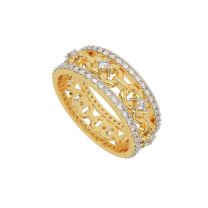 The Floral Flair Gold Diamond Eternity Ring