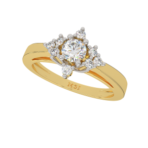 The Round Surround Gold Diamond Solitaire Ring