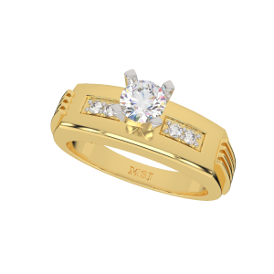 The Moonwalk Gold Diamond Solitaire Mans Ring