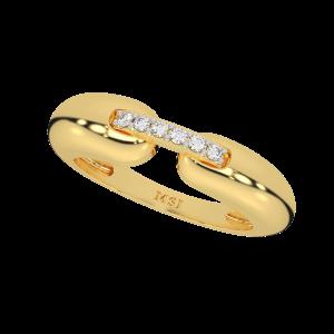 Locked Forever Couple Gold Diamond Ring For Her