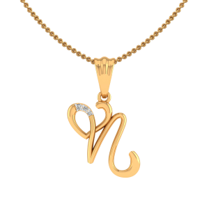 Letter N Heart Diamond Pendant
