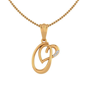 Letter O Heart Diamond Pendant